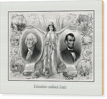 Presidents Washington And Lincoln Wood Print by War Is Hell Store