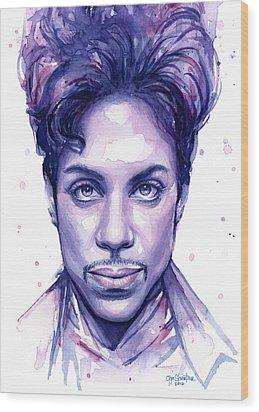 Prince Purple Watercolor Wood Print by Olga Shvartsur