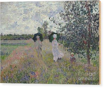 Promenade Near Argenteuil Wood Print by Claude Monet