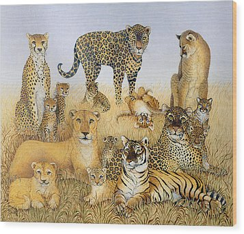 The Big Cats Wood Print by Pat Scott