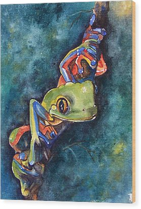 Psychedelic Frog Wood Print by Gina Hall