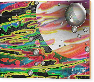 Psychedelic Planetary Journey Wood Print by Roxy Riou