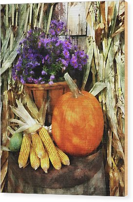 Pumpkin Corn And Asters Wood Print by Susan Savad
