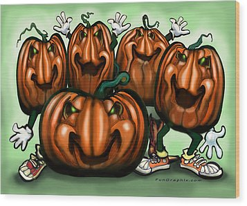 Pumpkin Party Wood Print by Kevin Middleton