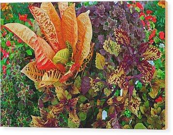 Purple Flowers Wood Print by Michael Thomas