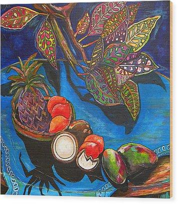 Purple Pineapple Wood Print by Patti Schermerhorn