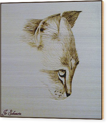 Purrfect Study 2 Wood Print by Jo Schwartz