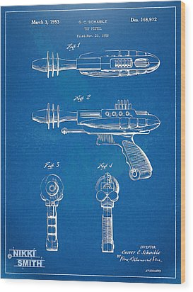 Pyrotomic Disintegrator Pistol Patent Wood Print by Nikki Marie Smith