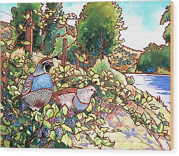Quails And Blackberries Wood Print by Nadi Spencer