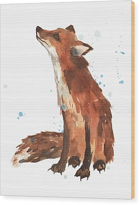Quiet Fox Wood Print by Alison Fennell