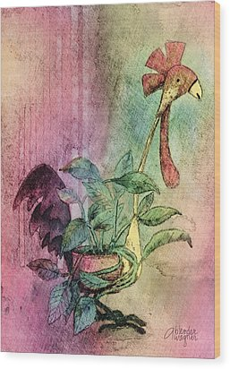 Quirky Rooster Planter Wood Print by Arline Wagner