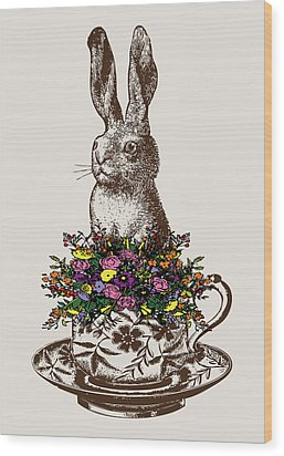 Rabbit In A Teacup Wood Print by Eclectic at HeART