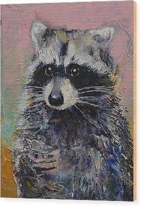 Raccoon Wood Print by Michael Creese