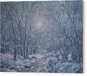Radiant Snow Scene Wood Print by Leonard Holland