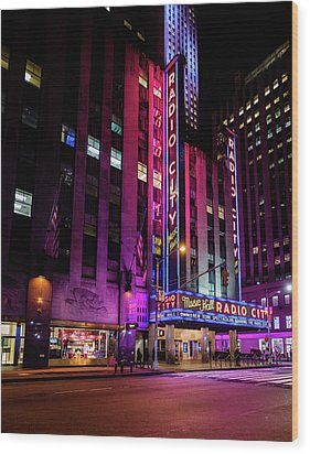 Wood Print featuring the photograph Radio City Music Hall by M G Whittingham