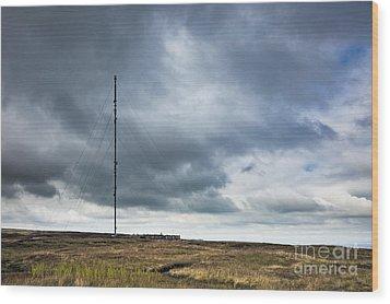 Radio Tower In Field Wood Print by Jon Boyes