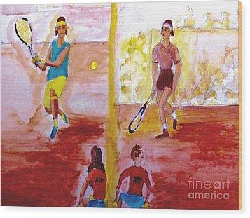 Rafa Versus Federer Wood Print by Stanley Morganstein
