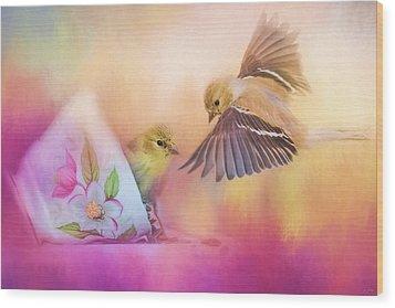 Raiding The Teacup - Songbird Art Wood Print by Jai Johnson