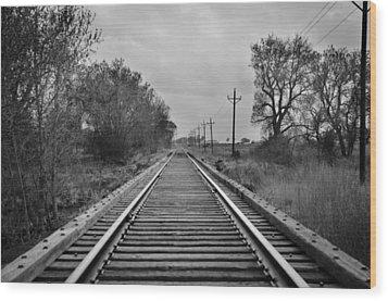 Railroad Tracks Wood Print by Matthew Angelo