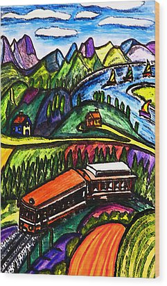 Railway Express Wood Print by Monica Engeler