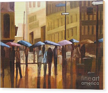 Rain In Manhattan Number Seventeen Wood Print by Tate Hamilton