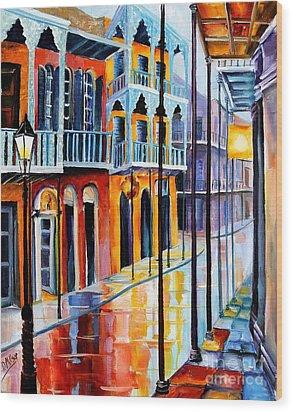 Rain On Royal Street Wood Print by Diane Millsap