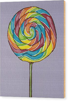 Rainbow Lollipop Wood Print by Sandy Tracey