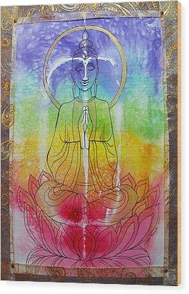 Rainbowbuddha Wood Print by Joan Doyle