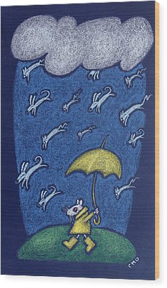 Raining Cats And Dogs Wood Print by wendy CHO