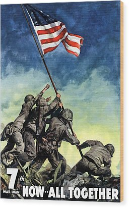Raising The Flag On Iwo Jima Wood Print by War Is Hell Store