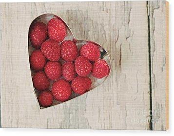 Raspberry Heart Wood Print by Kim Fearheiley