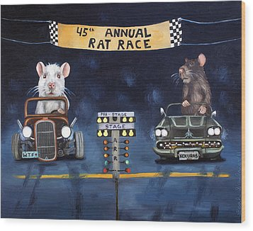Rat Race Wood Print by Leah Saulnier The Painting Maniac