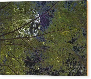 Ravens Of The Harvest Moon Wood Print by Wingsdomain Art and Photography