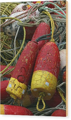 Red And Yellow Buoys Wood Print by Carol Leigh