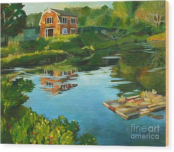 Red Barn In Kennebunkport Me Wood Print by Claire Gagnon