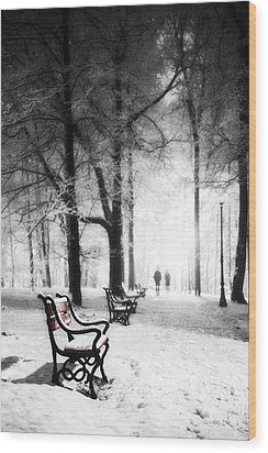 Red Benches In A Park Wood Print by Jaroslaw Grudzinski