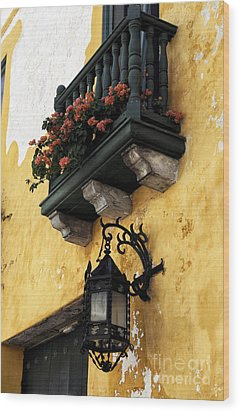 Red Flowers In Cartagena Wood Print by John Rizzuto