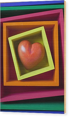 Red Heart In Box Wood Print by Garry Gay