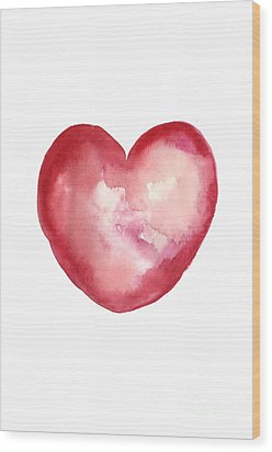 Red Heart Valentine's Day Gift Wood Print by Joanna Szmerdt
