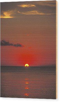 Red Orange Sunset On Horizon Wood Print by James Forte