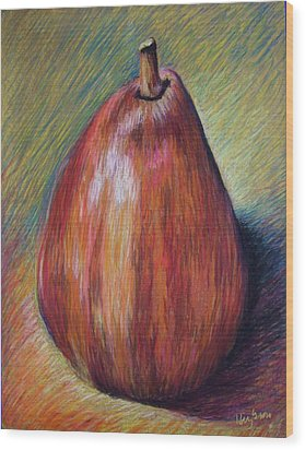Red Pear Wood Print by Hillary Gross