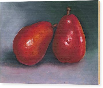 Red Pear Pair Wood Print by Joyce Geleynse