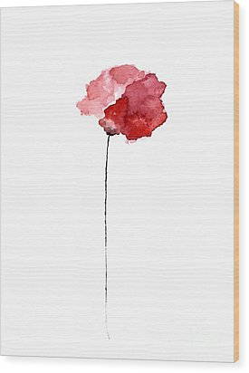 Red Poppy Watercolor Minimalist Painting Wood Print by Joanna Szmerdt