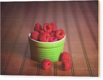 Red Raspberries Still Life Wood Print by Tom Mc Nemar