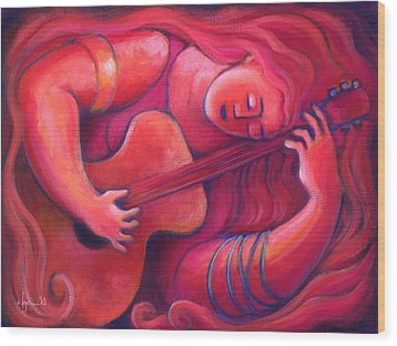 Red Sings The Blues Painting 43 Wood Print by Angela Treat Lyon