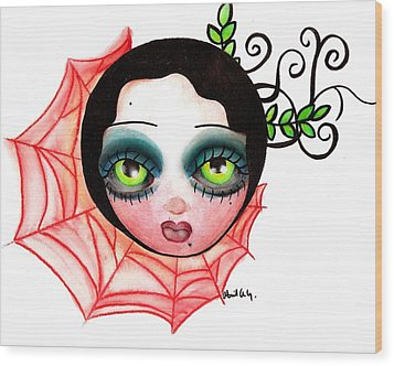 Red Spider Web Wood Print by  Abril Andrade Griffith