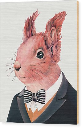 Red Squirrel Wood Print by Animal Crew