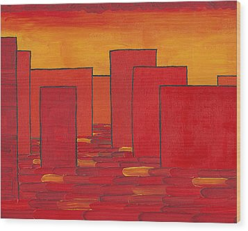 Red Town P1 Wood Print by Manuel Sueess