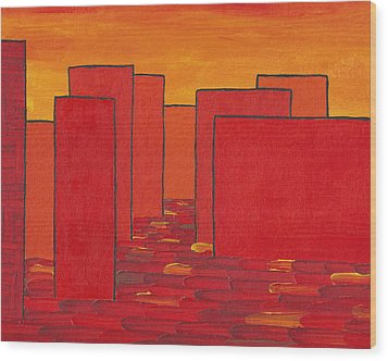Red Town P2 Wood Print by Manuel Sueess