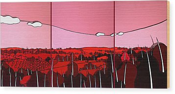 Red Tuscan Longview Wood Print by Jason Charles Allen